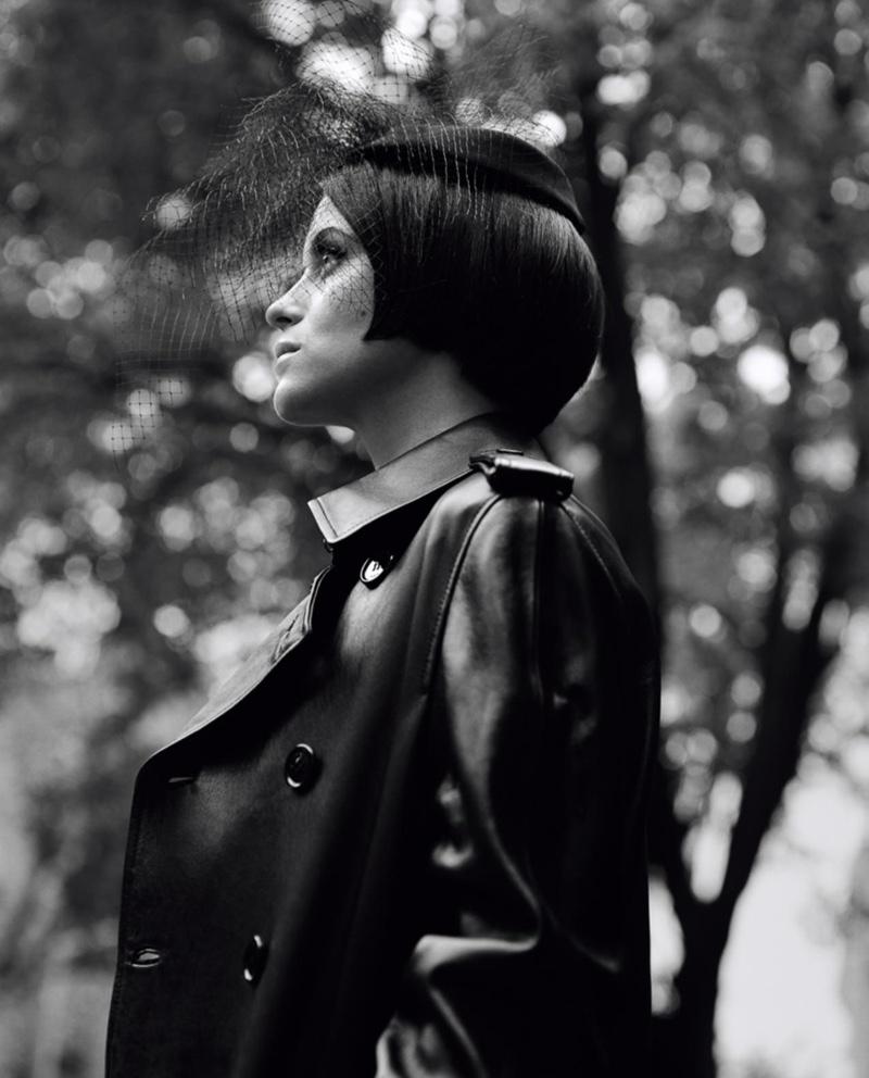 Actress Claire Foy wears Celine by Hedi Slimane coat