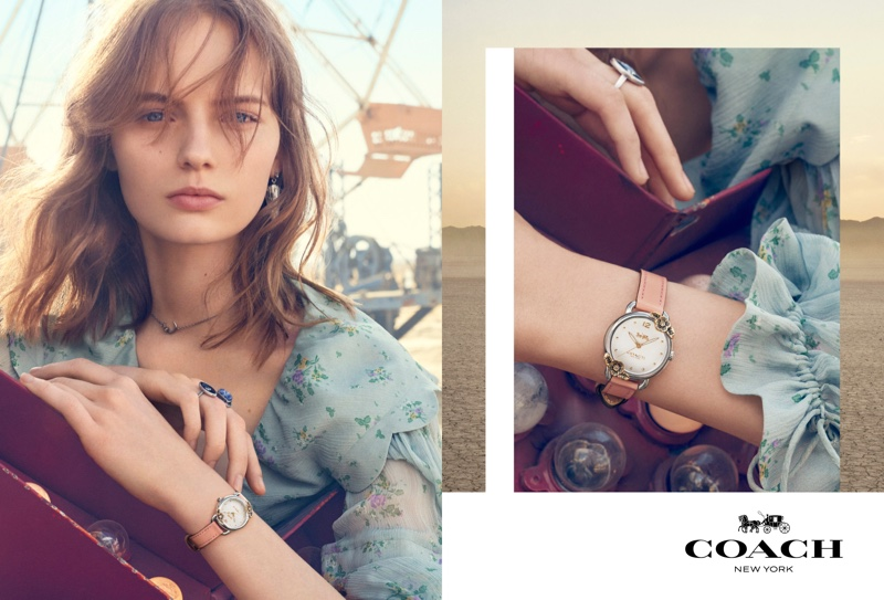 Fran Summers models watch in Coach spring-summer 2019 campaign