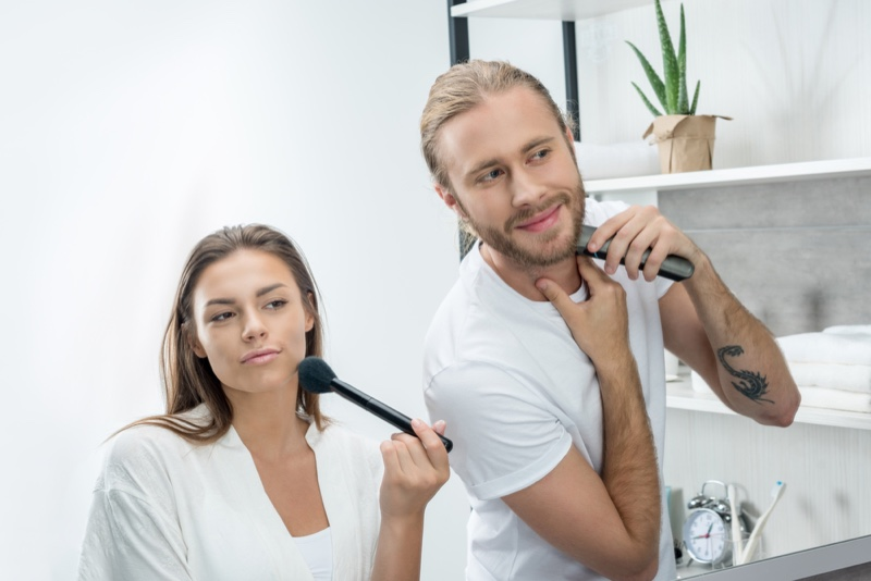 Couple Woman Man Getting Ready in Morning