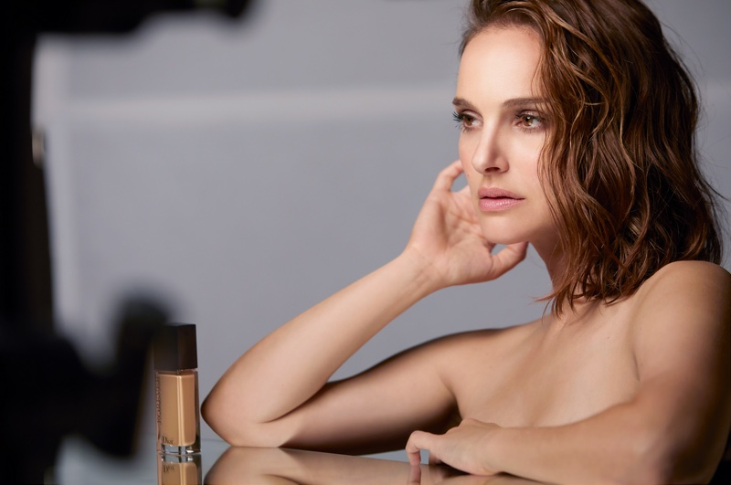 BEHIND THE SCENES: Natalie Portman poses on set of Dior Forever foundation shoot