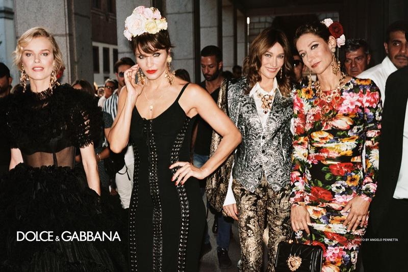 Eva Herzigova, Helena Christensen, Carla Bruni, and Marpessa Hennink front Dolce & Gabbana spring-summer 2019 campaign. Photo: Angelo Pennetta