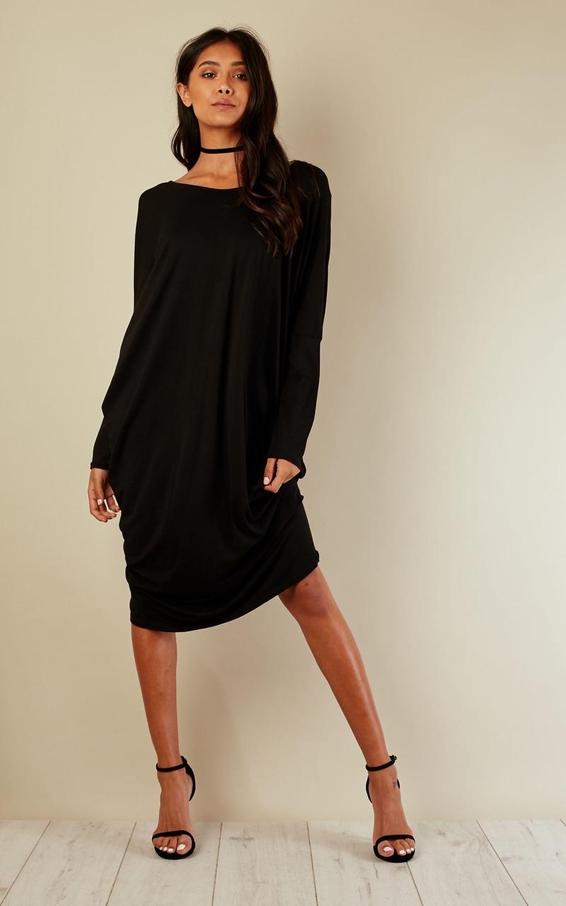 Black Scoop Neck Batwing Dress
