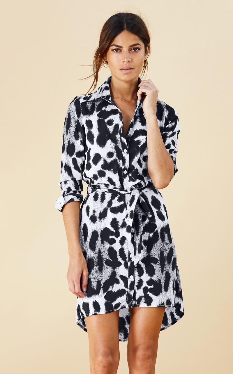 Mini Shirt Dress in Grey Leopard