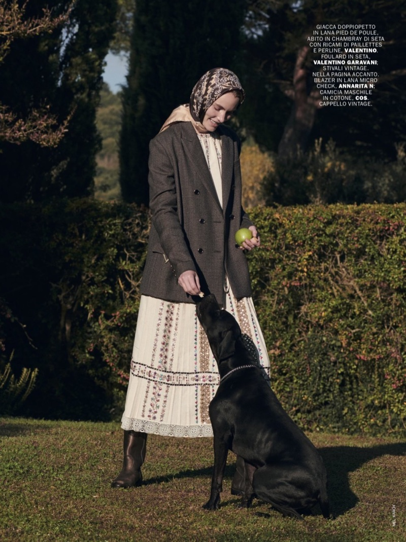 Emily Baker Poses Outdoors in Elegant Styles for Marie Claire Italy