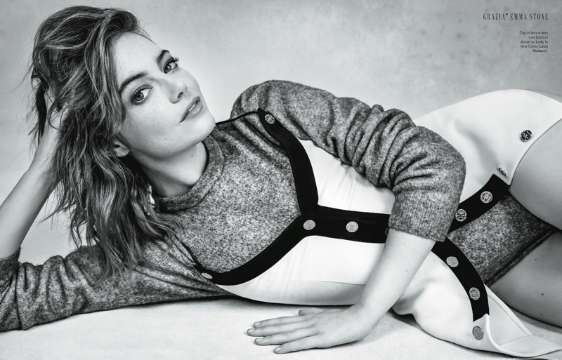 Captured in black and white, Emma Stone wears a Louis Vuitton look