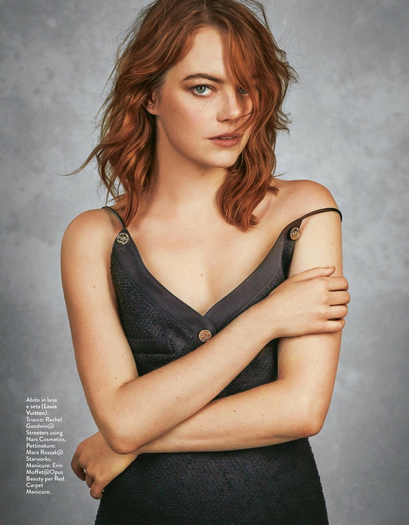 Emma Stone Poses in Louis Vuitton Looks for Grazia Italy
