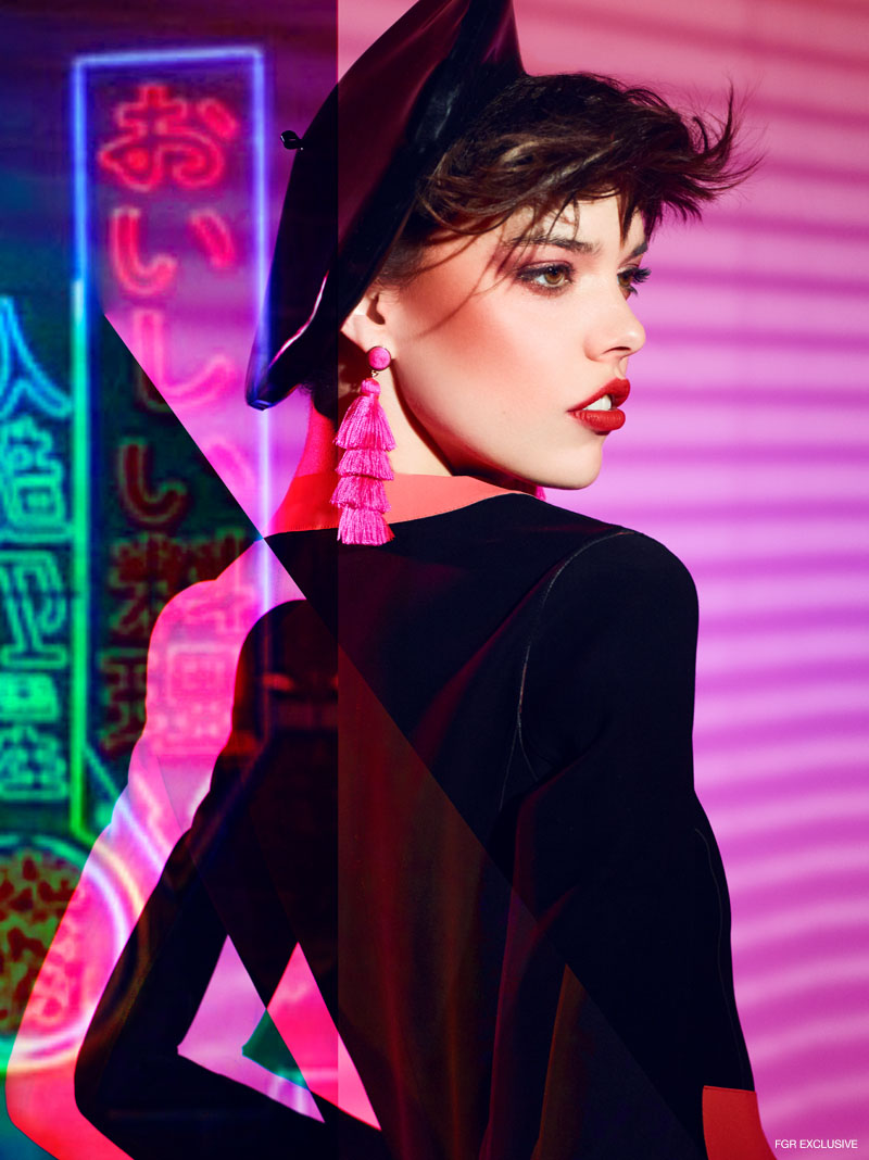 Giorgio Armani Jacket with Contrast Trim, BaubleBar Fringe Earrings and Vex Latex Beret. Photo: Enrique Vega
