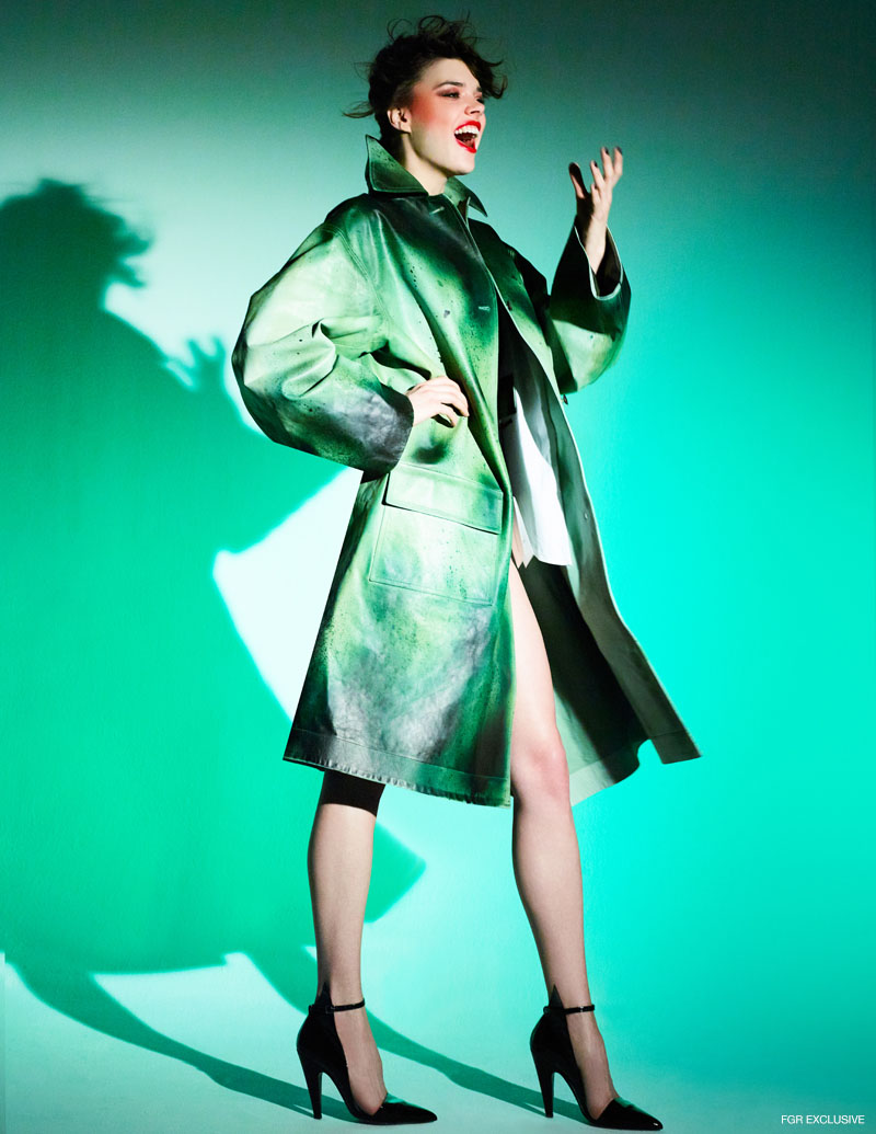 Calvin Klein Splattered Leather Over Coat and High-Heeled Patent Pump. Photo: Enrique Vega