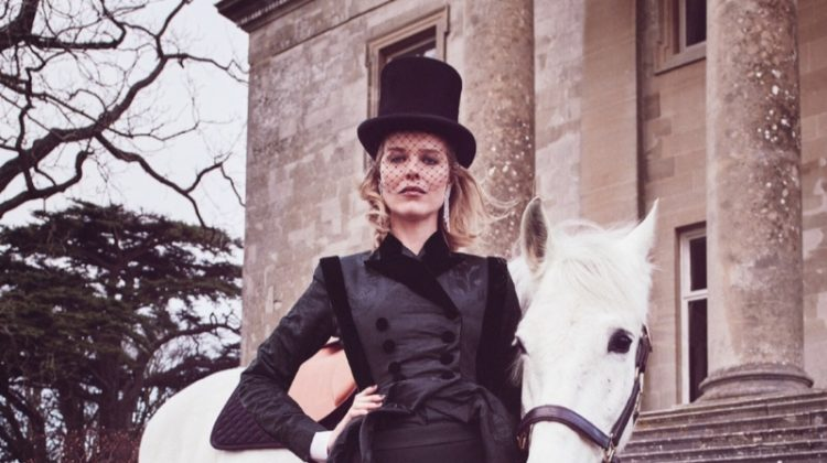 Eva Herzigova Poses in Elegant Ensembles for Tatler