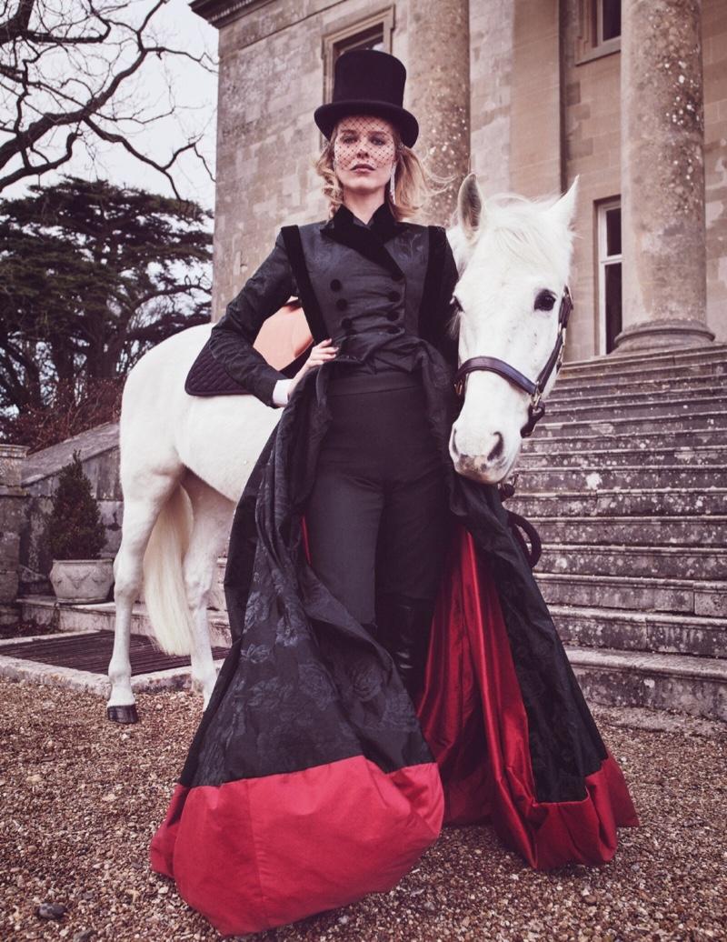 Eva Herzigova Poses in Elegant Ensembles for Tatler