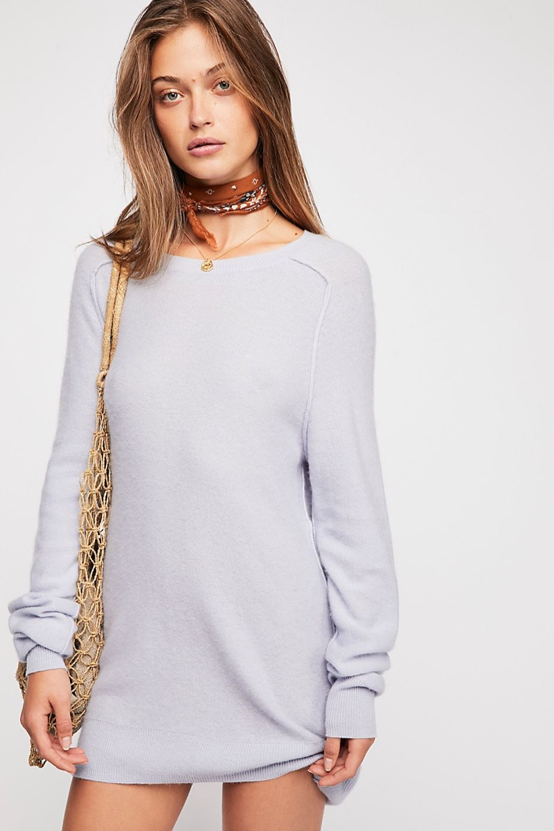 Free People Golden Hour Cashmere Sweater in Lilac $168