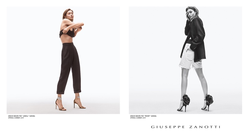 An image from the Giuseppe Zanotti spring 2019 advertising campaign