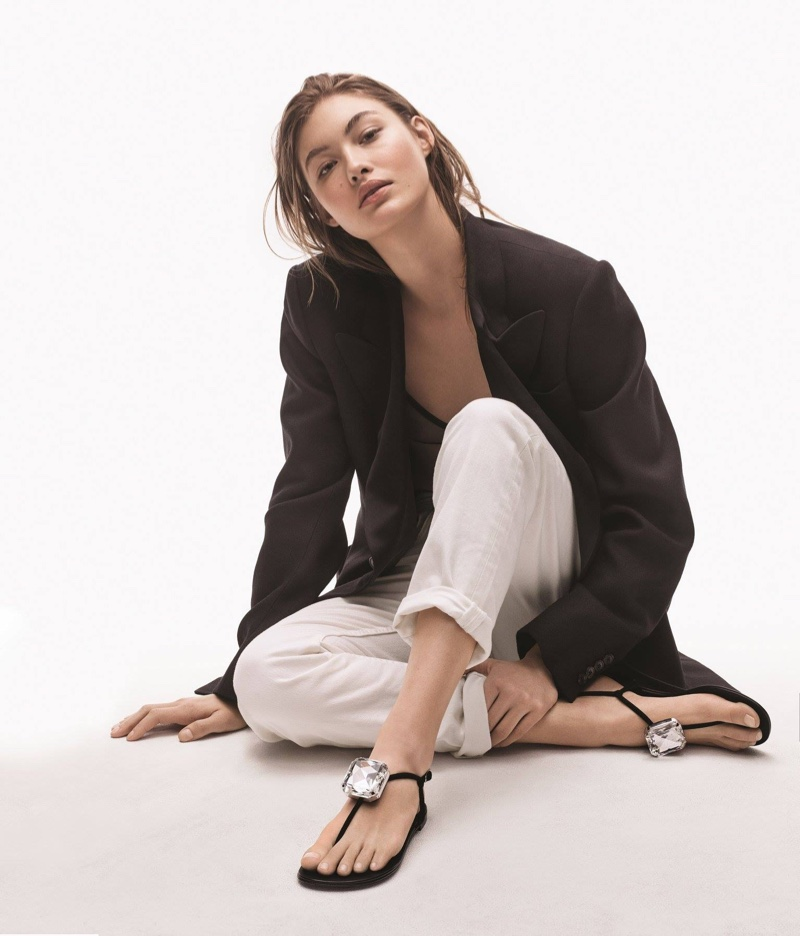 Giuseppe Zanotti enlists the American model for its spring 2019 advertising campaign