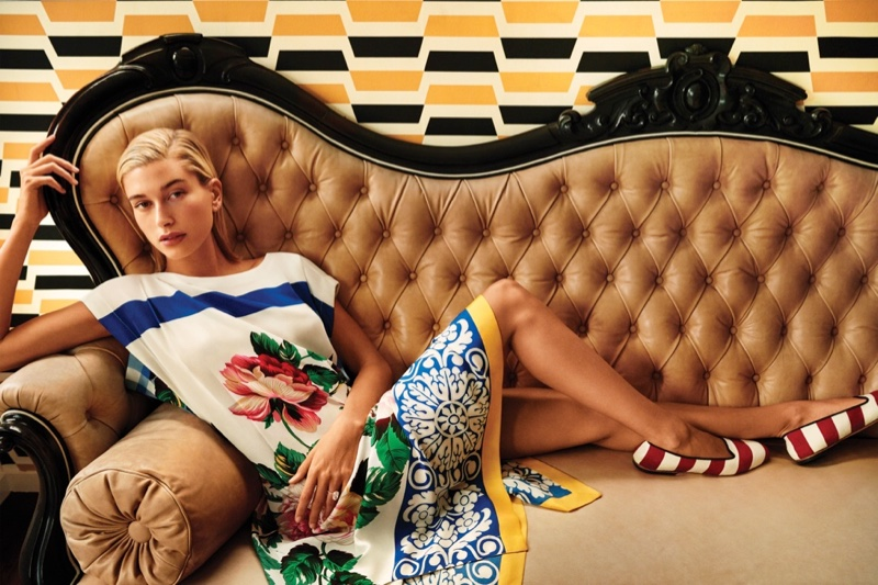 Model Hailey Baldwin appears in Weekend MaxMara Nantucket collection campaign