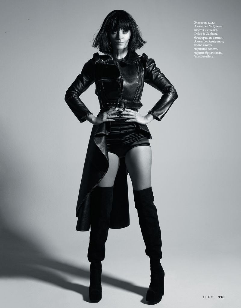 Helena Christensen Models Sleek Looks for ELLE Russia