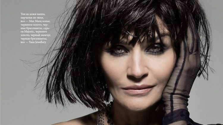 Helena Christensen Models Sleek Looks for ELLE Russia