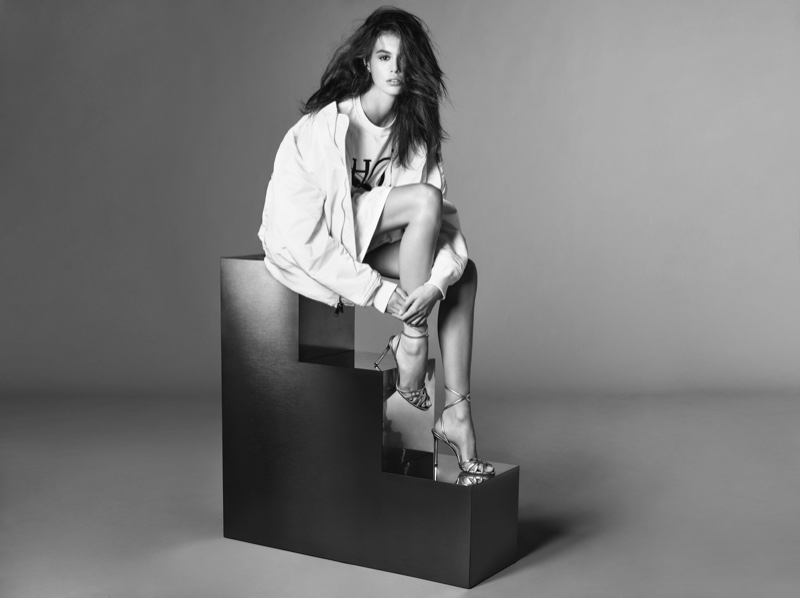 Photographed in black and white, Kaia Gerber fronts Jimmy Choo spring-summer 2019 campaign