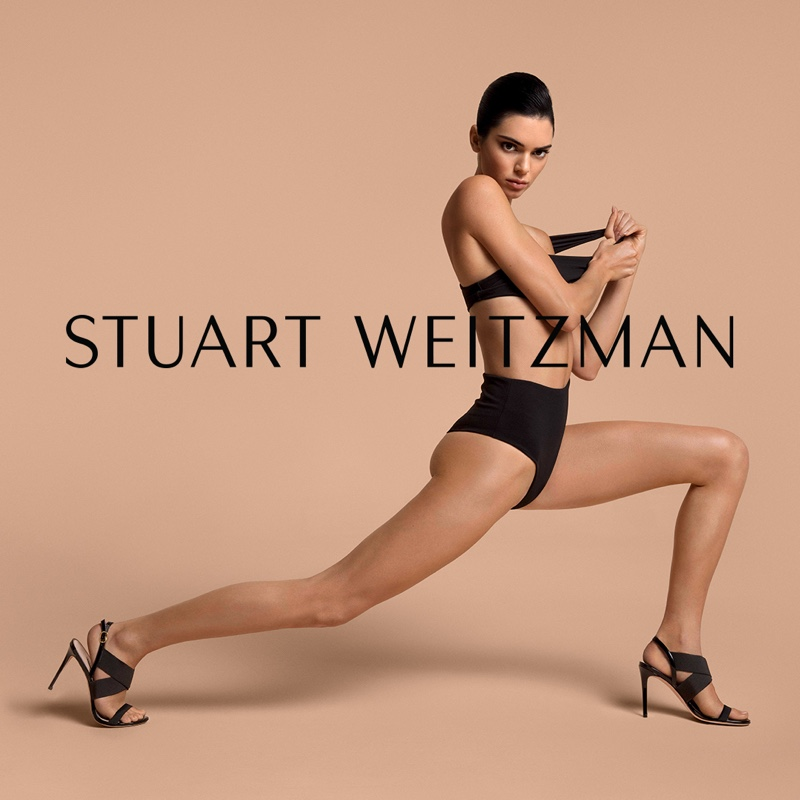 Model Kendall Jenner wears ALANA sandal in Stuart Weitzman spring-summer 2019 campaign
