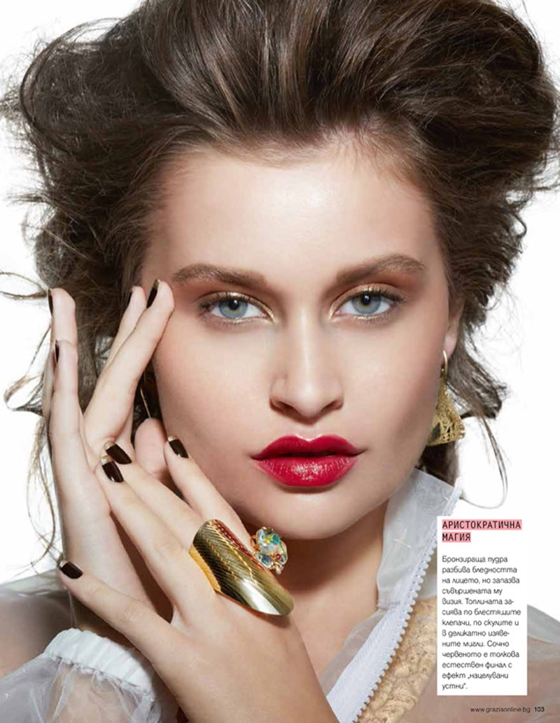 Lexi Wood Models Glam Beauty for Grazia Bulgaria