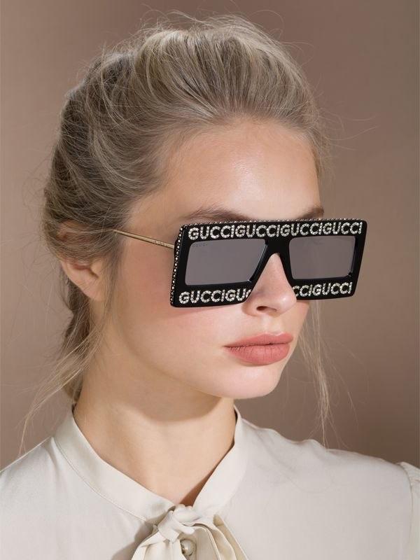 Gucci Crystals Square Logo Sunglasses $1,240