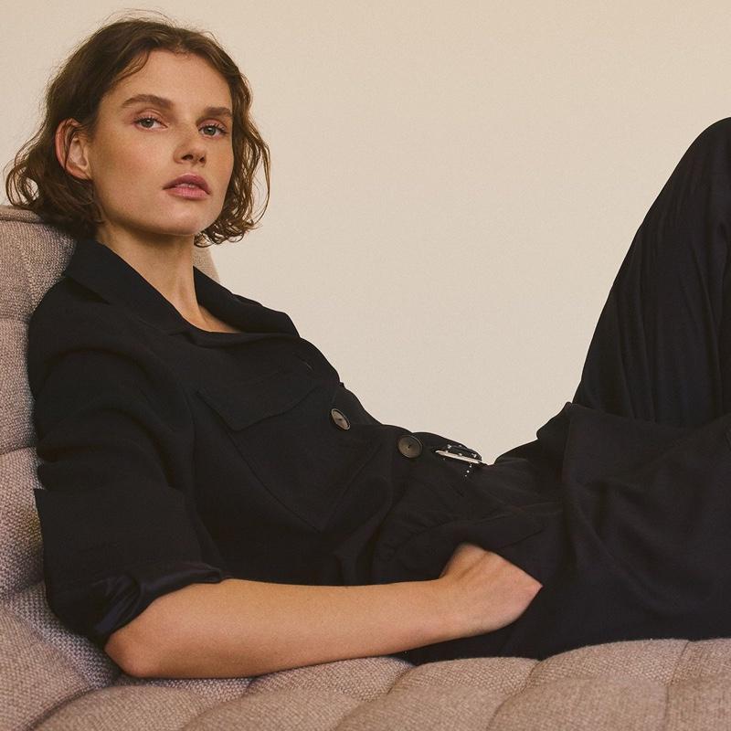 Dressed in black, Giedre Dukauskaite poses for Massimo Dutti lookbook
