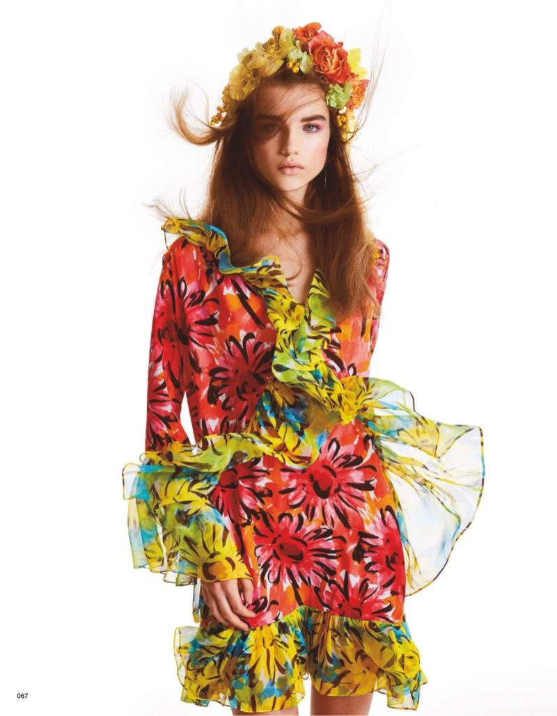 Meghan Roche Models Floral Blooms for Vogue Japan