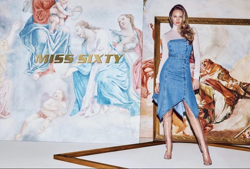 Candice Swanepoel wears denim in Miss Sixty spring-summer 2019 campaign