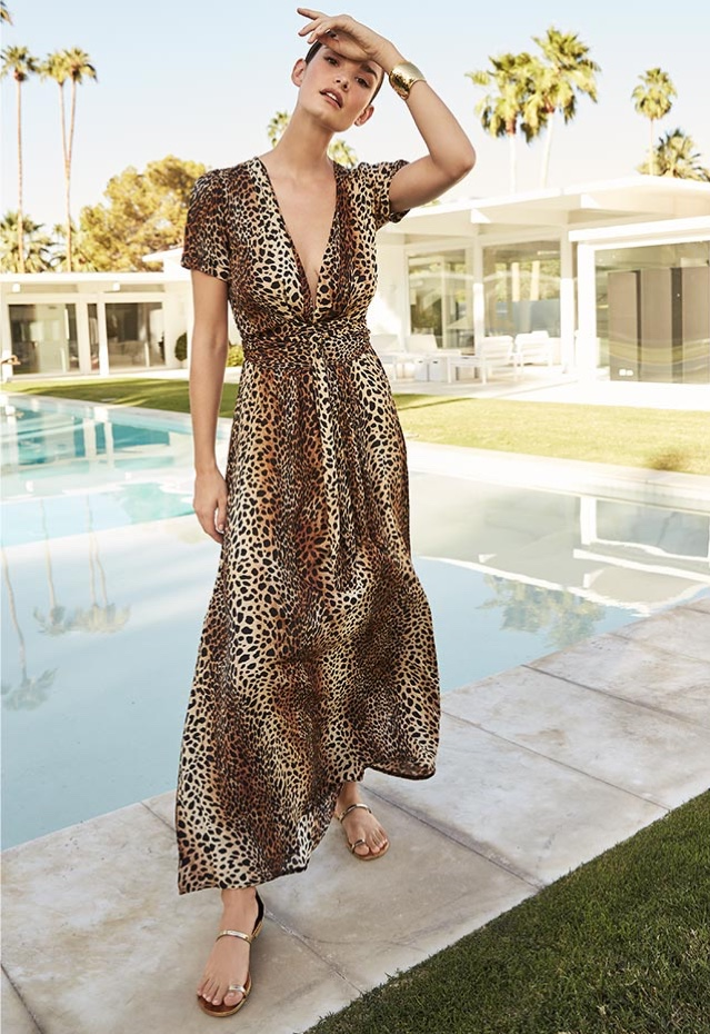 Melissa Odabash Lou Cheetah Print Short-Sleeve Maxi Dress $450