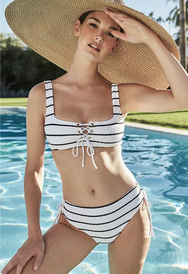Heidi Klein Striped Lace-Up Textured One-Piece Bikini Top $150 and Striped Lace-Up Hipster Bikini Swim Bottoms $130