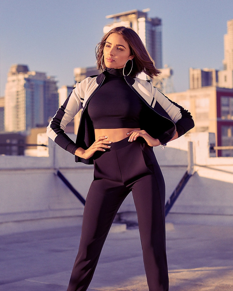 Express x Olivia Culpo Track Jacket $79.90, Cropped Mock Neck Tee $39.90 and High Waisted Track Pant $69.90