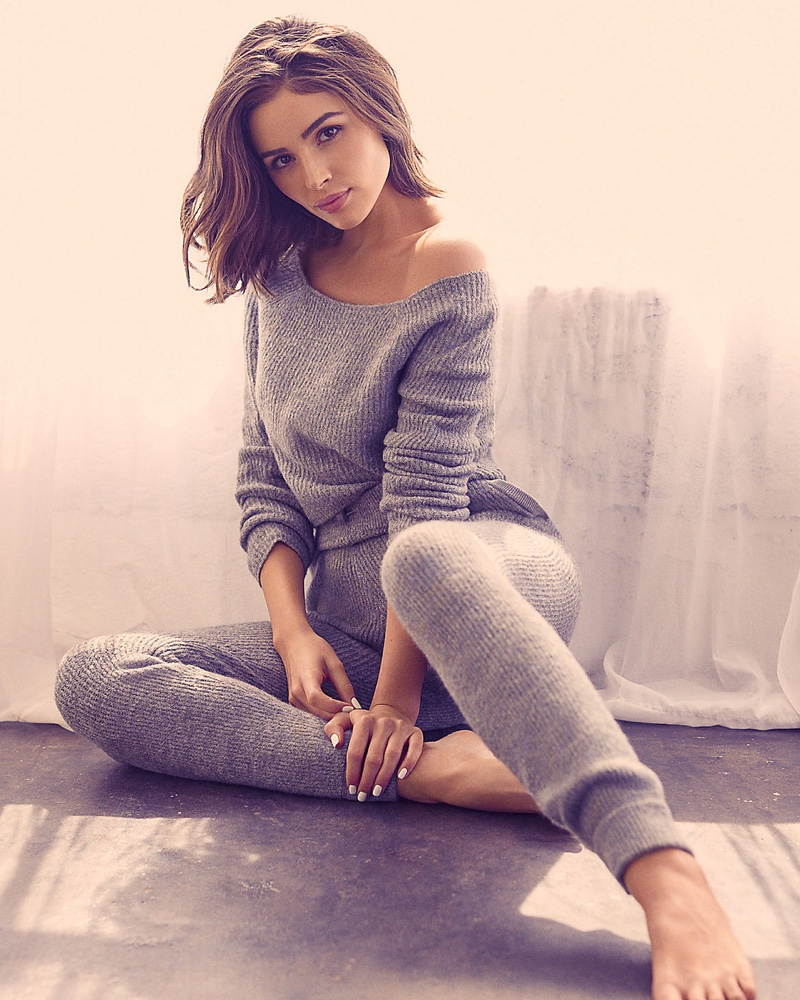 Express x Olivia Culpo Off the Shoulder Ribbed Sweater $69.90