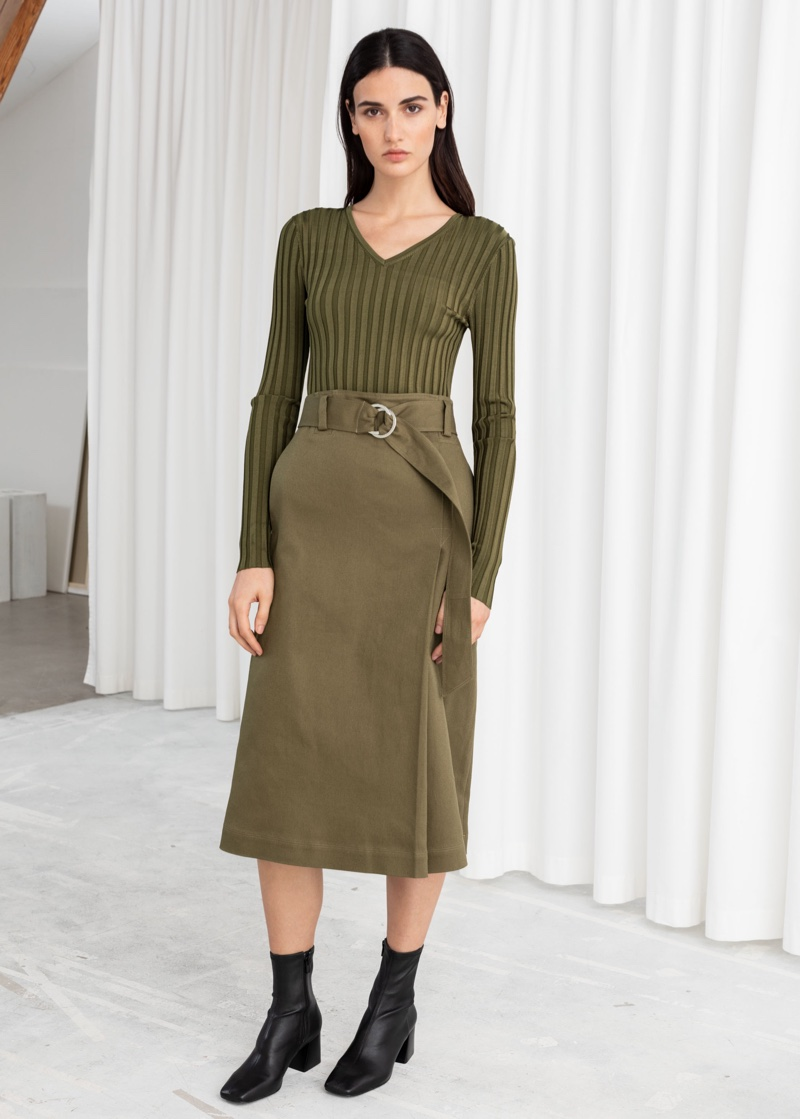 & Other Stories Belted A-Line Midi Skirt in Khaki $79