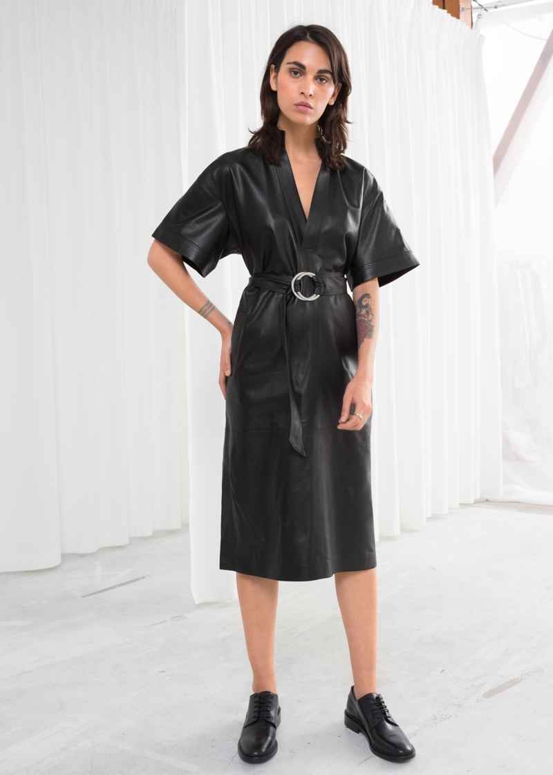 & Other Stories Belted Leather Midi Dress $449
