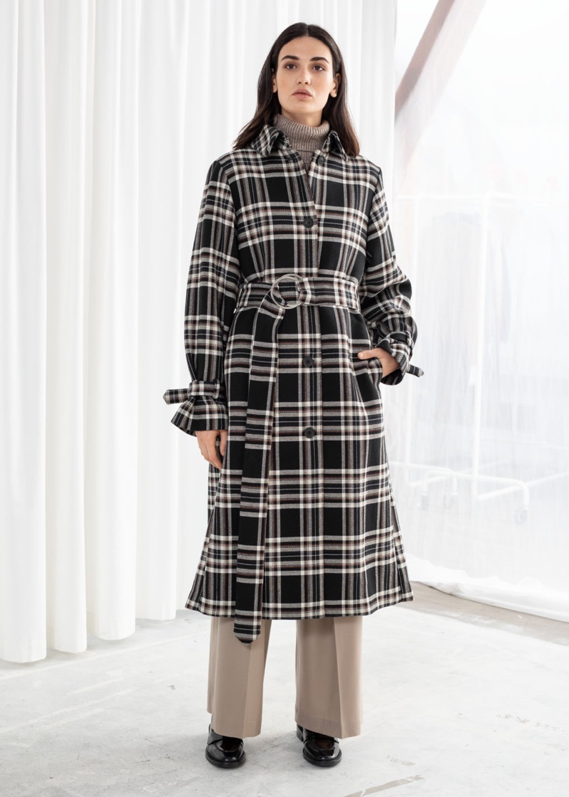 & Other Stories Belted Plaid Trench Coat $219