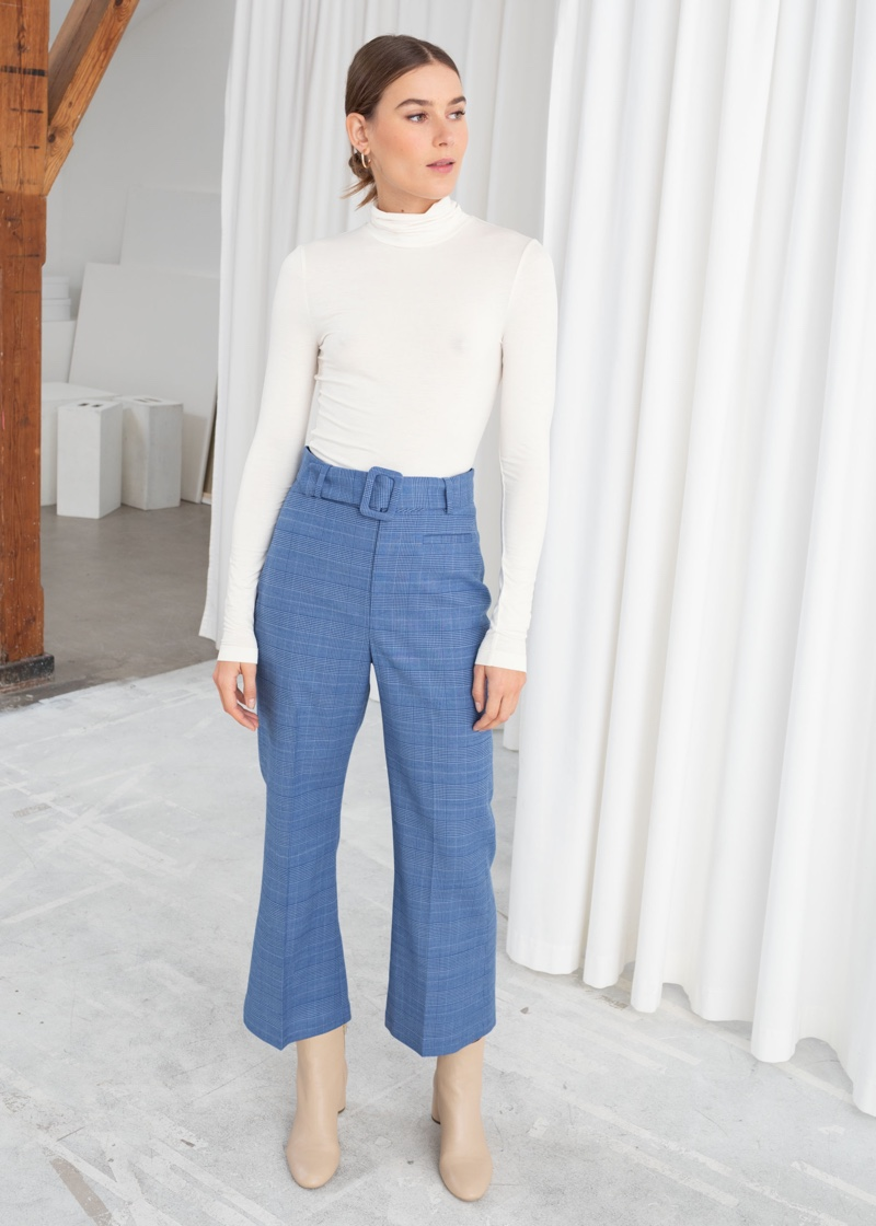 & Other Stories Belted Plaid Trousers in Blue $99