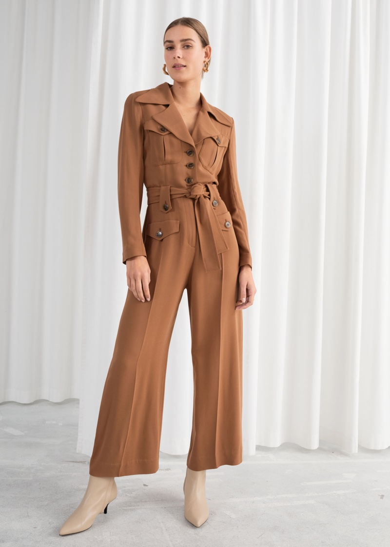 & Other Stories Belted Workwear Jumpsuit $129
