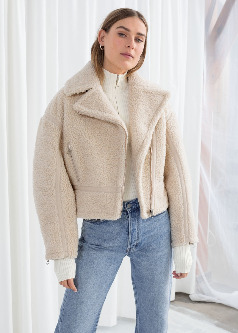 & Other Stories Cropped Faux Shearling Jacket $179