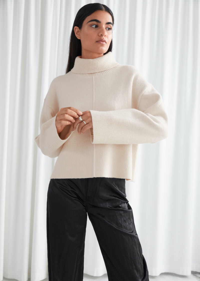 & Other Stories Cropped Turtleneck Knit Jumper in Creme $119