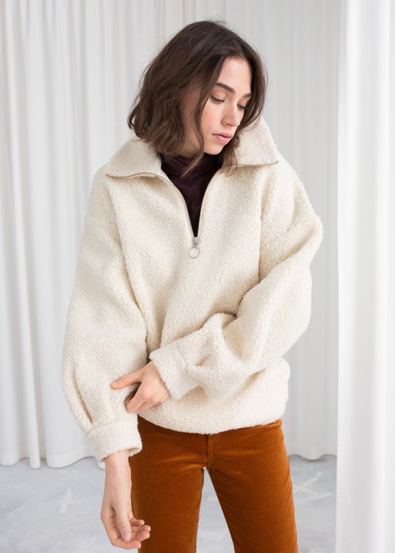 & Other Stories Faux Shearling Zip Pullover $89