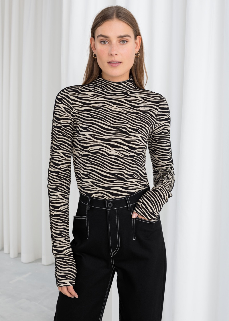 & Other Stories Fitted Zebra Turtleneck $49