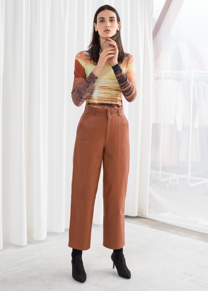 & Other Stories High Waisted Leather Pants $299