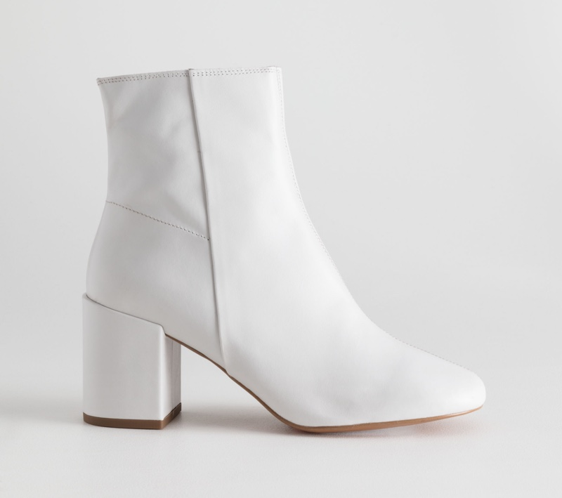 & Other Stories Leather Ankle Boots in White $195