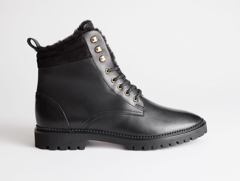 & Other Stories Leather Lace Up Snow Boots $179