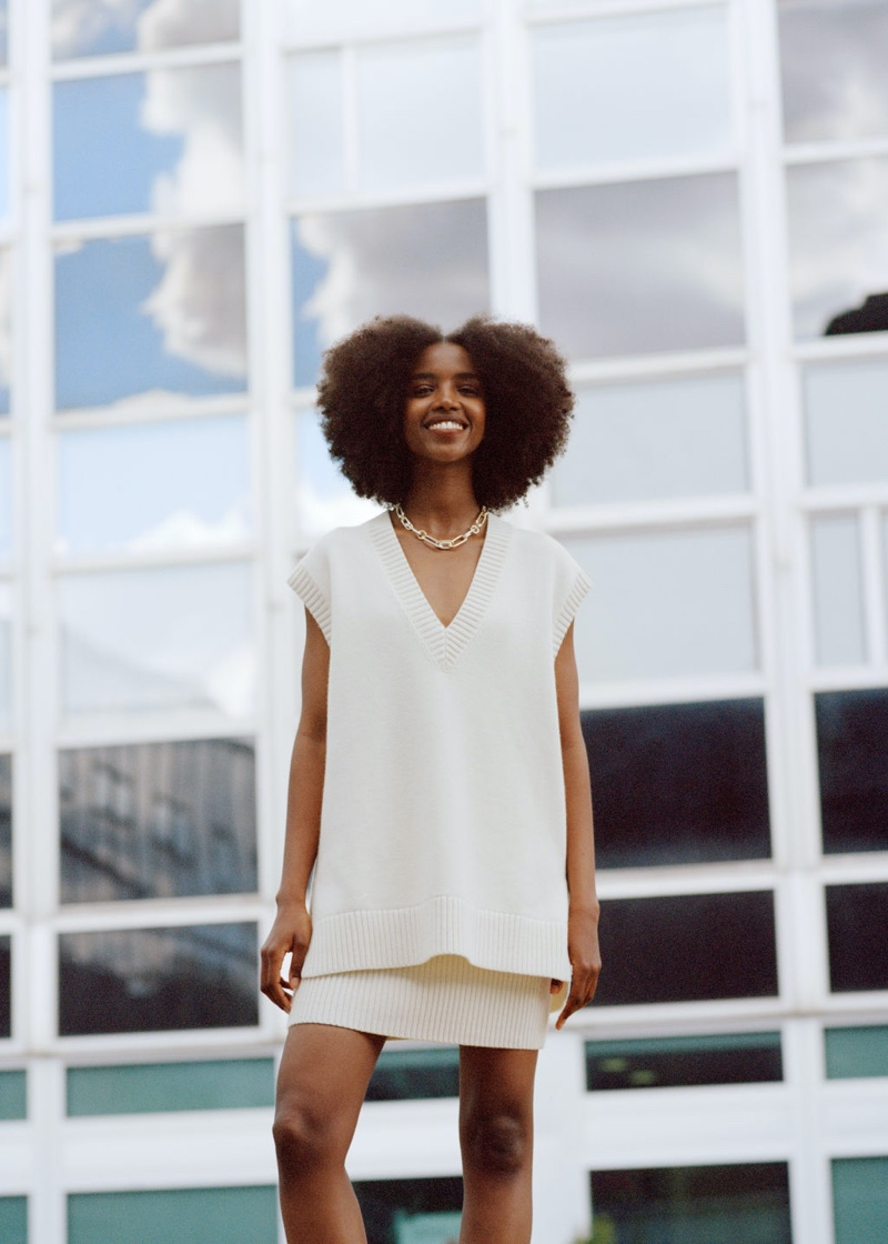 & Other Stories Oversized Knit Vest in White $69