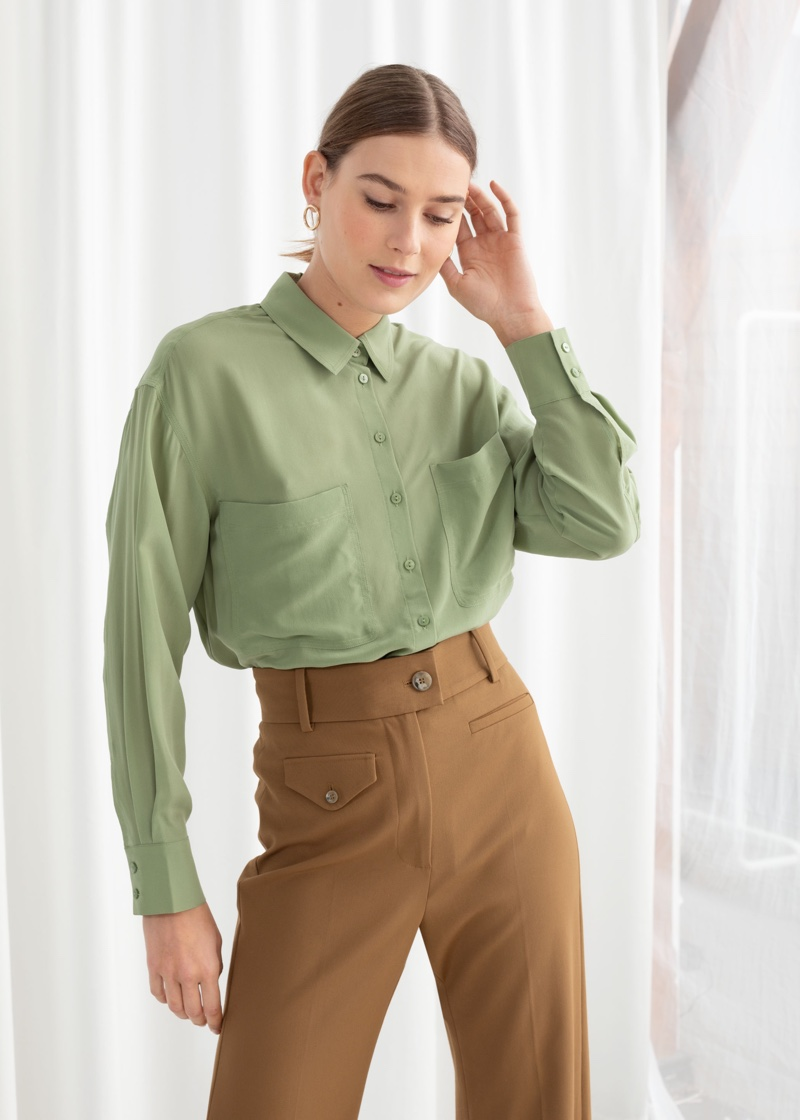 & Other Stories Oversized Silk Shirt in Pistachio $119