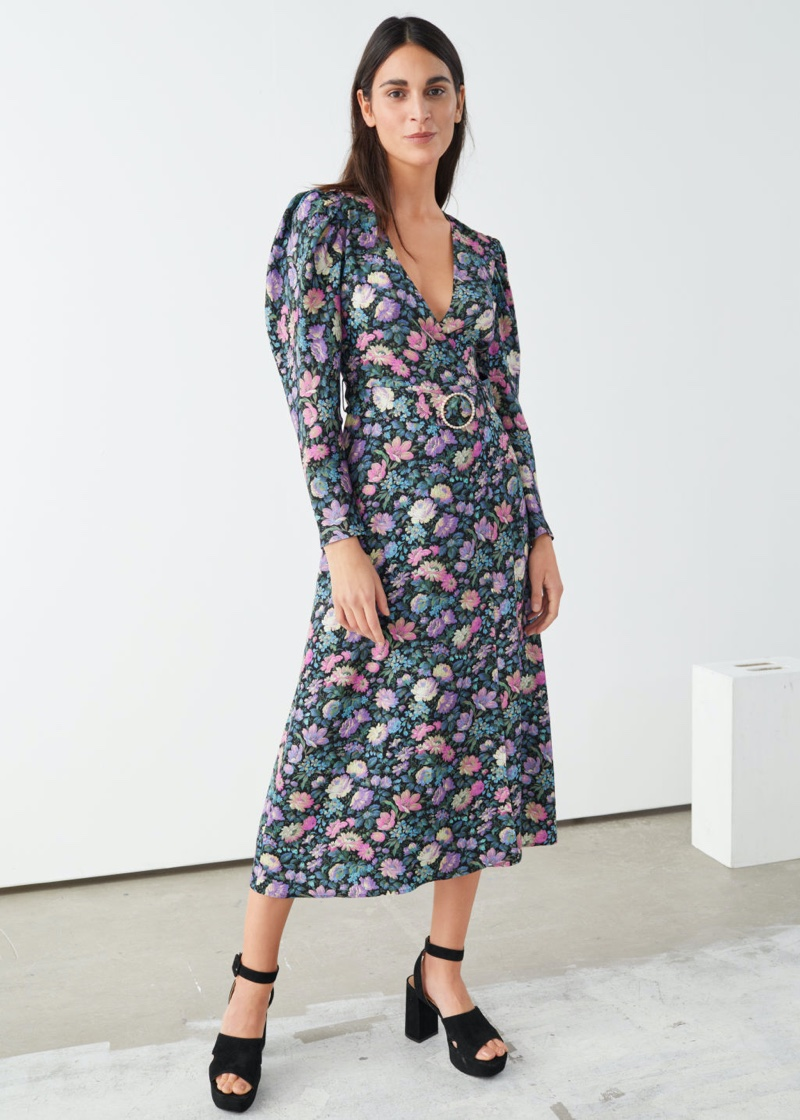 & Other Stories Pearl Buckle Belted Midi Dress in Dark Floral $149