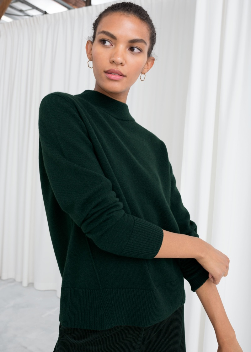 & Other Stories Relaxed Fit Cashmere Sweater in Green $169