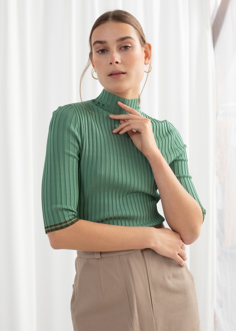 & Other Stories Rib Knit Mock Neck Top $69