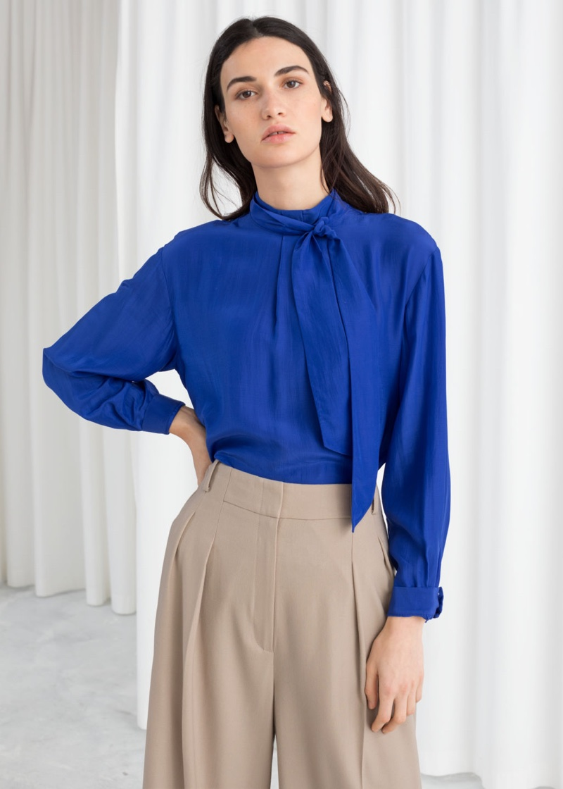 & Other Stories Straight Fit Pussy Bow Blouse in Blue $69