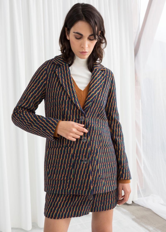 & Other Stories Striped Cotton Blend Blazer $119